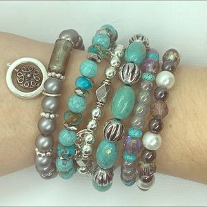 Jewelry - Turquoise stacking bracelets.